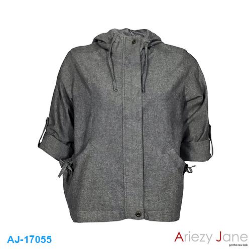 แจ็กเก็ตหมวก ผ้าค็อตต้อน สลาฟ สีเทา AJ-17055