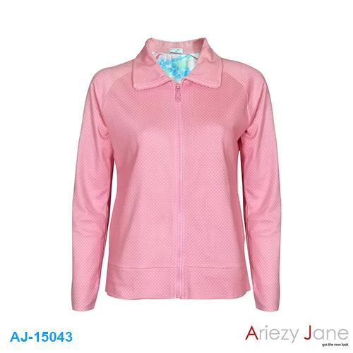 แจ็กเก็ต ผ้ายืด ชมพู จุดเหลือง AJ-15043