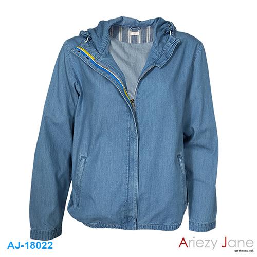 แจ็กเก็ตหมวก ผ้ายีนส์ แชมเบ้ สีอ่อน AJ-18022