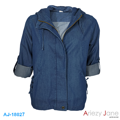 แจ็กเก็ตหมวก ผ้ายีนส์ แชมเบ้ สีเข้ม AJ-18027