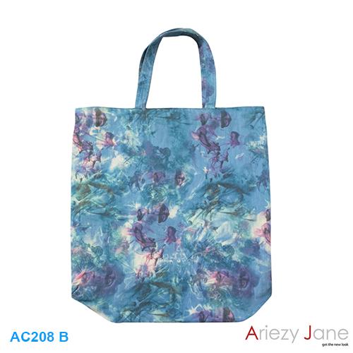 กระเป๋า พิมพ์รูปผลเชอร์ , ดอกม่วงฟ้า AC-208 B