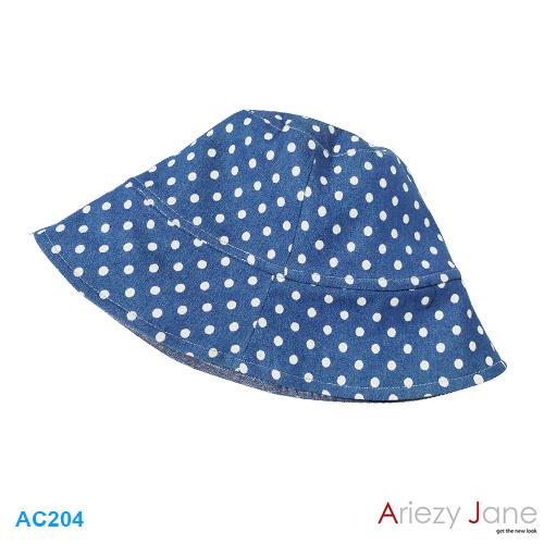 หมวก ยีนส์(2ด้าน)ลายฉลุ วงกลมขาว AC-204