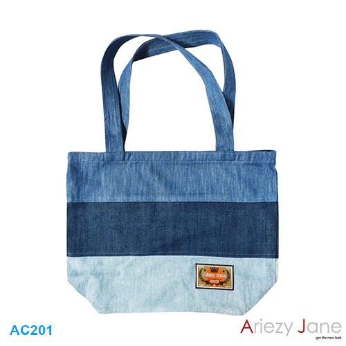 กระเป๋า ทรงยาวผ้ายีนส์ 3 เฉด ยีนส์3สี-ยีนส์เข้ม AC-201