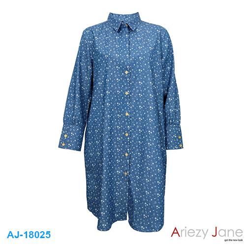 ชุดกระโปรง ยีนส์ ลายดาว AJ-18025