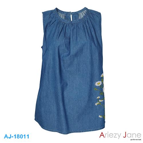 เสื้อแขนกุด ยีนส์บาง ปักดอกไม้ AJ-18011
