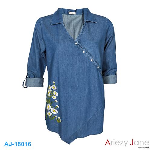 เสื้อป้ายข้าง ยีนส์ ปักดอกไม้ AJ-18016