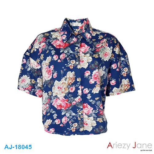 เสื้อเชิ้ต แขนสั้นลายดอก AJ-18045