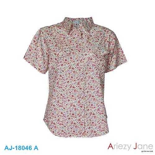 เสื้อเชิ้ต แขนสั้น ลายดอกชมพู AJ-18046-A
