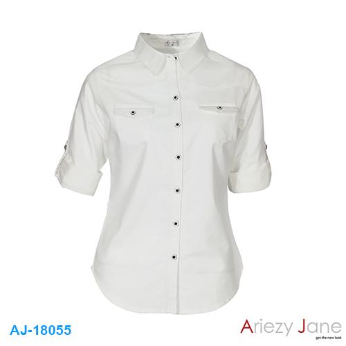 เสื้อเชิ้ต สีขาว ผ้าอ๊อกฟอร์ด AJ-18055