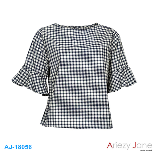 เสื้อคอปาด ลายสก๊อต AJ-18056