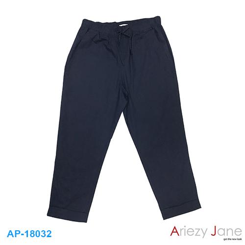 กางเกง 7 ส่วน ลินินผสม สีกรมท่า AP-18032