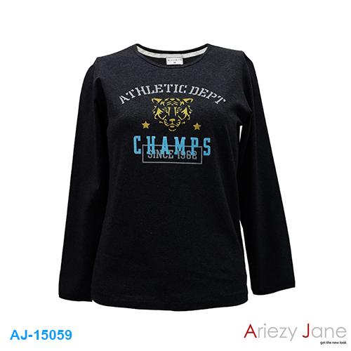 เสื้อยืดคอกลมแขนยาว พิมพ์ลาย CHAMPS AJ15059