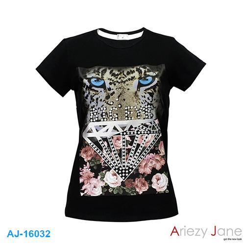 เสื้อยืดคอกลม พิมพ์ลาย BIG EYES AJ16032