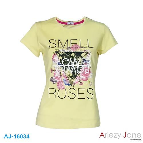 เสื้อยืดคอกลม พิมพ์ลาย SMELL ROSES AJ16034