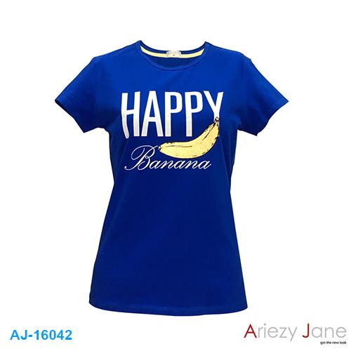 เสื้อยืดคอกลม พิมพ์ลาย HAPPY AJ16042