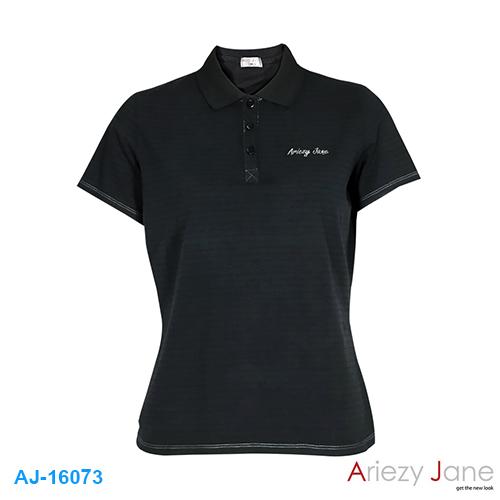 เสื้อยืดโปโล ผ้ายืด มีลาย ARIEZY JANE AJ16073