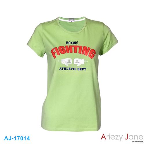 เสื้อยืดคอกลม เขียวอ่อน BOXING AJ17014