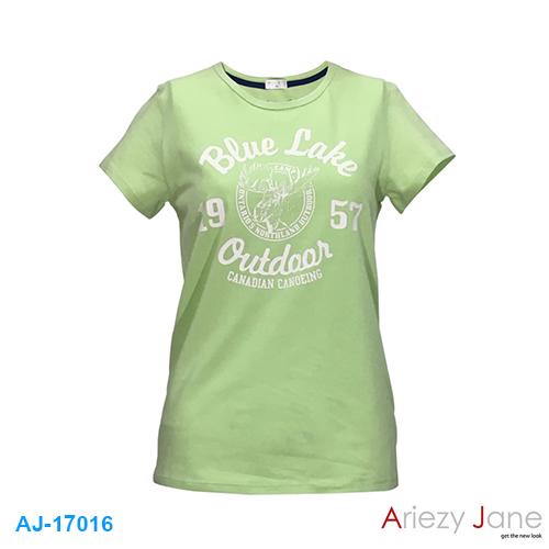 เสื้อยืดคอกลม สีเขียว BLUE LAKE AJ17016