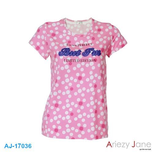 เสื้อยืดคอกลม ชมพู จุดขาว AJ17036