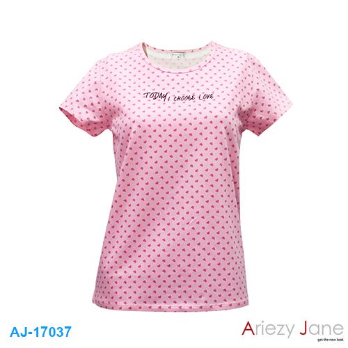 เสื้อยืดคอกลม ชมพู พิมพ์ลายหัวใจ AJ17037