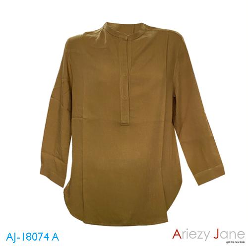 เสื้อคอจีน เจาะสาป แขนยาว สีน้ำตาล AJ-18074 A