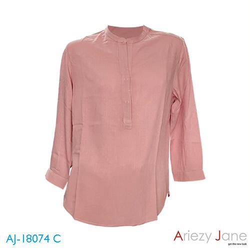 เสื้อคอจีน เจาะสาป แขนยาว สีชมพูอิฐ AJ-18074 C