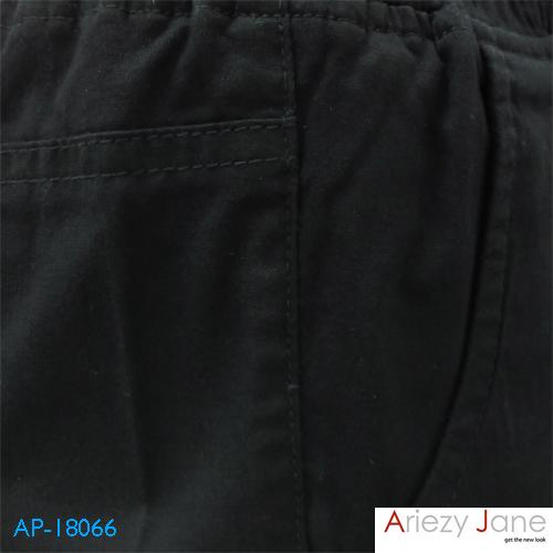กางเกงขาสั้นผูกเอว ผ้าญี่ปุ่น สีดำ AP-18066 A 2