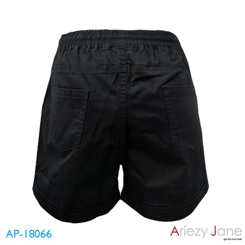กางเกงขาสั้นผูกเอว ผ้าญี่ปุ่น สีดำ AP-18066 A 1
