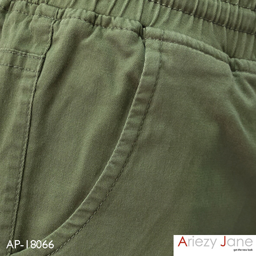 กางเกงขาสั้นผูกเอว ผ้าญี่ปุ่น สีเขียว AP-18066 B 2