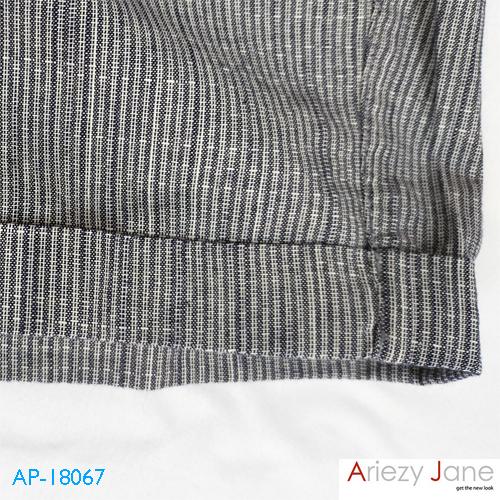 กางเกงขาสั้นผูกเอว พับขา ริ้วเล็ก AP-18067 1