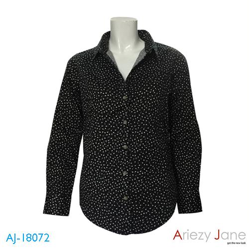 เสื้อเชิ้ต แขนยาว ลายดอกไม้ สีดำ AJ-18072 A 1