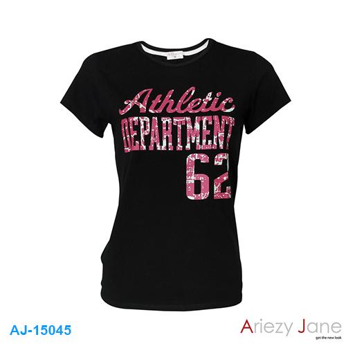 เสื้อยืดคอกลม พิมพ์ลาย AJ-15045