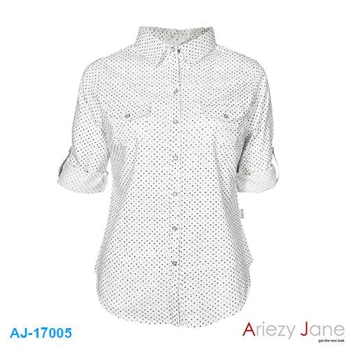 เสื้อเชิ้ต สีขาว ผ้าอ๊อกฟอร์ด AJ-17005