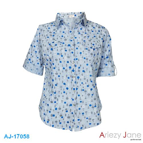 เสื้อเชื้ต ลายสก๊อต พิมพ์ใบไม้ AJ-17058