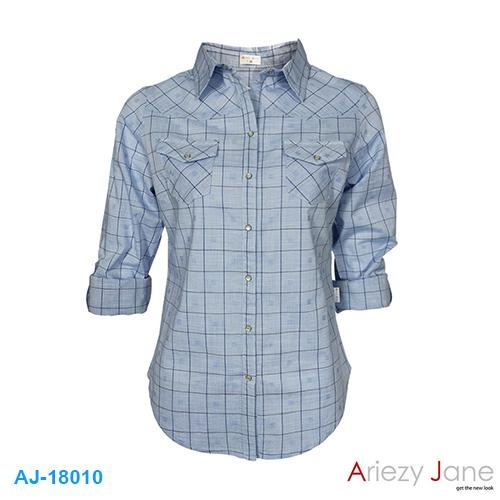 เสื้อเชื้ต ลายตารางสีฟ้า AJ-18010