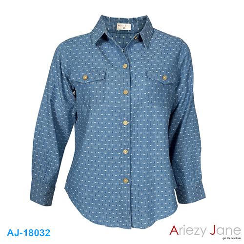 เสื้อเชิ้ตยีนส์ ลายเสื่อ AJ-18032