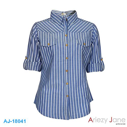 เสื้อเชิ้ต ริ้วฟ้าขาว แขน 3 ส่วน AJ-18041