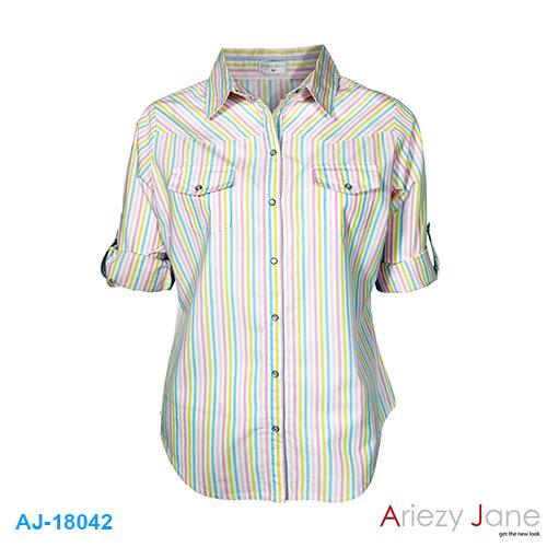 เสื้อเชิ้ต ริ้วหลากสี AJ-18042
