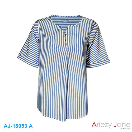 เสื้อป้ายฃ้าง ลายริ้ว ฟ้าขาว AJ-18053 A