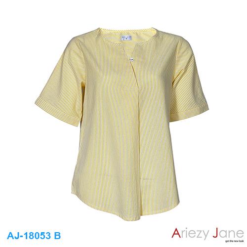 เสื้อป้ายฃ้าง ลายริ้ว เหลืองขาว AJ-18053 B