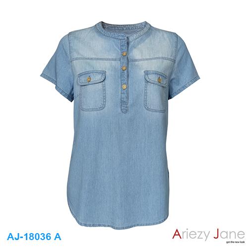 เสื้อยีนส์ คอจีน แขนสั้น เจาะสาป AJ-18036A