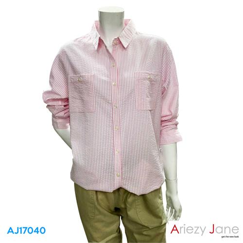 เสื้อเชิ้ต แขนยาว ลายทางสีชมพู  AJ-17040