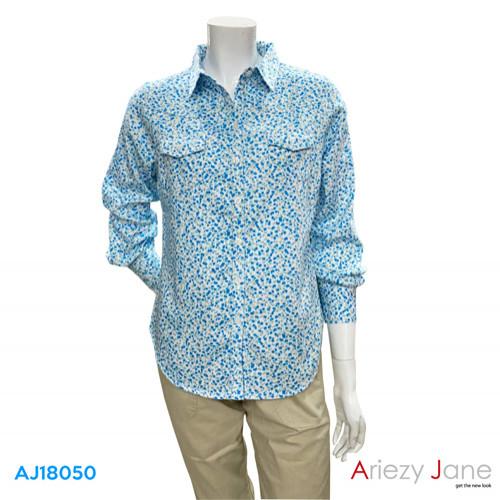 เสื้อเชิ้ต แขนยาว ลายดอกไม้  AJ-18050