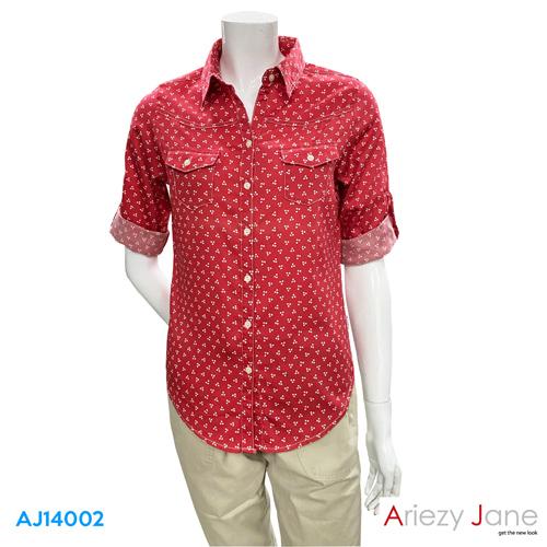 เสื้อเชิ้ต แขนยาว ลายดอกไม้  AJ-14002