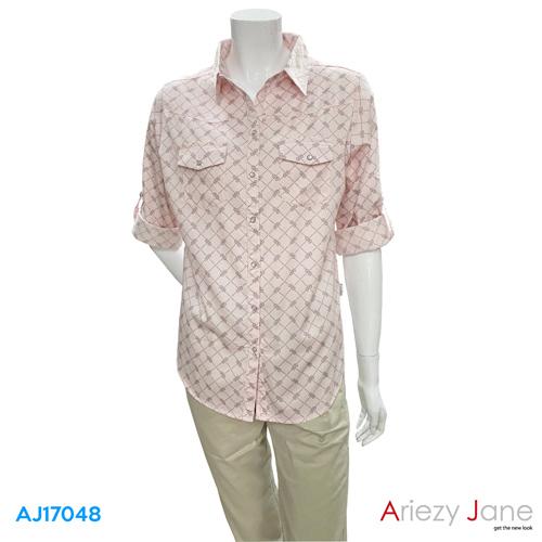 เสื้อเชิ้ต แขนยาว ลายวินเทจ  AJ-17048