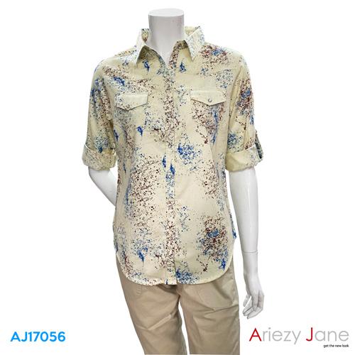 เสื้อเชิ้ต แขนยาว ลายดอกไม้  AJ-17056