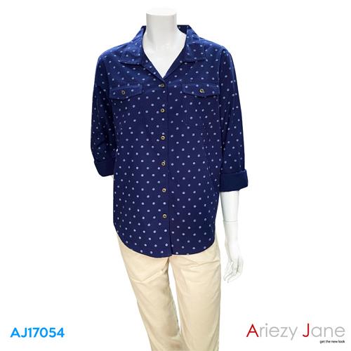 เสื้อเชิ้ต แขนยาว ลายจุด  AJ-17054