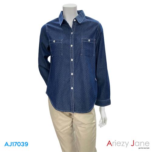 เสื้อเชิ้ต แขนยาว ลายจุดขาว  AJ-17039
