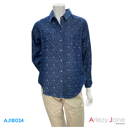 เสื้อเชิ้ต แขนยาว ลายดอกไม้  AJ-18024