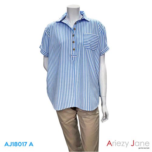 เสื้อเชิ้ต ลายทางสีฟ้า-ขาว  AJ-18017 A